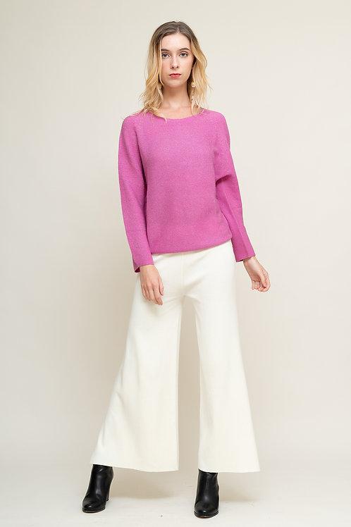 Ecru Emissary | Pink Iris Seamless Knitting Wool Sweater