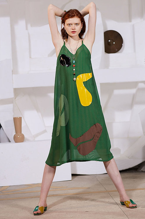Rimless | Green Abstract Pattern Strap Dress