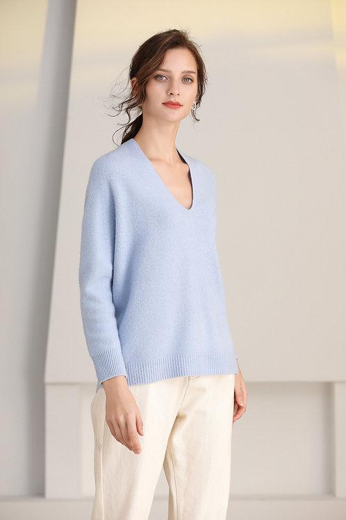 Ecru Emissary | Blue Leila Seamless Knitting Wool Sweater