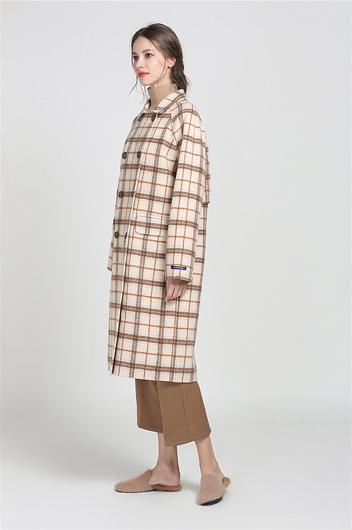 Ecru Emissary | Caramel Lined Plaid Coat