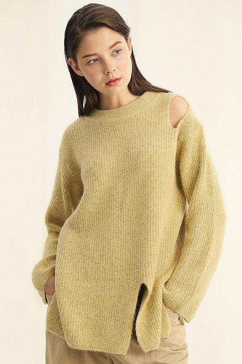 Ecru Emissary | Ginger Off-Shoulder with Slit Sweater