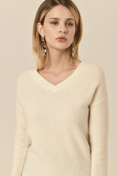 Ecru Emissary   White Marcella Wool Sweater