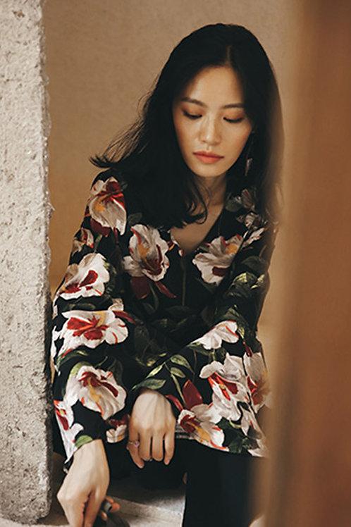 Since Then | Floral Print V-neck Top