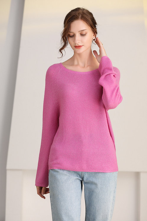Ecru Emissary | Pink Iris Seamless Knitting Wool Sweater