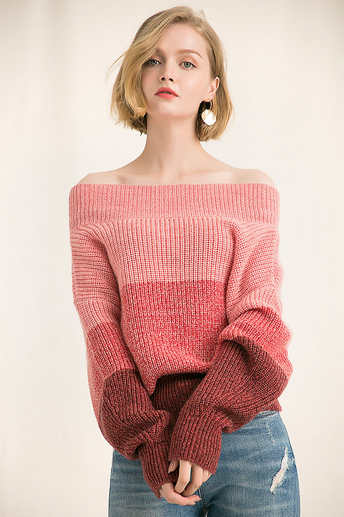 Ecru Emissary | Pink Off-Shoulder Sweater