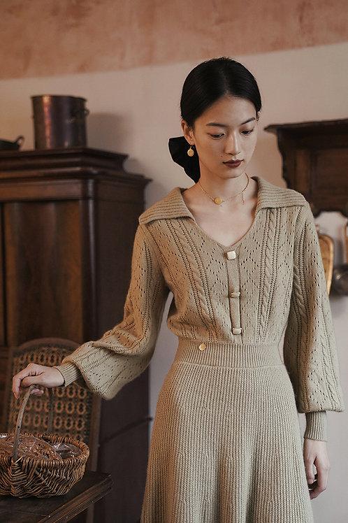 MOLIFUSU | Diamond Brocade Knit Dress
