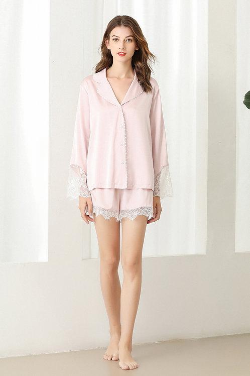 Lykke Home | 19 Momme Mulberry Silk Sakura Pajama Set