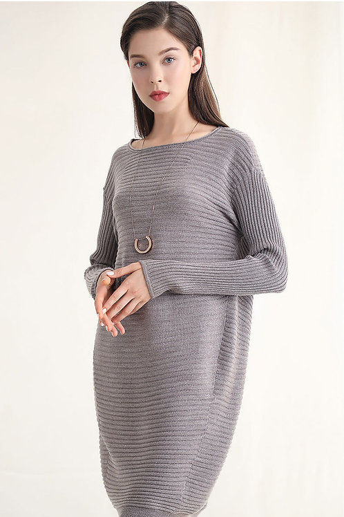 Ecru Emissary | Grey Wool Blend Knit Sweater