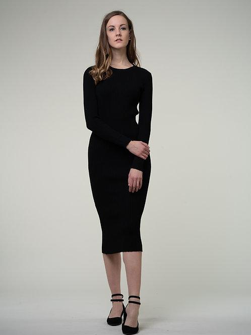 Ecru Emissary | Black Wool Blend Maxi Dress