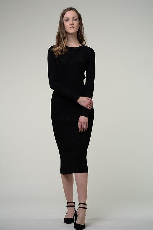 Ecru Emissary   Black Wool Blend Maxi Dress