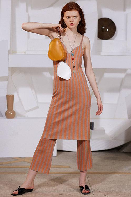 Rimless | Orange Stripe Silver Silk Pant