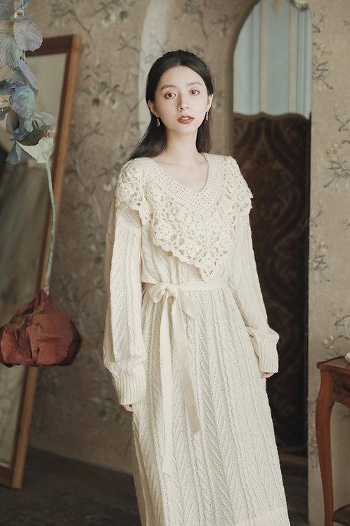 MOLIFUSU | Cream Hollow Knit Dress