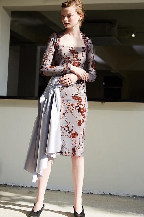 Rimless | Grey Sheer-chiffon Floral Skirt