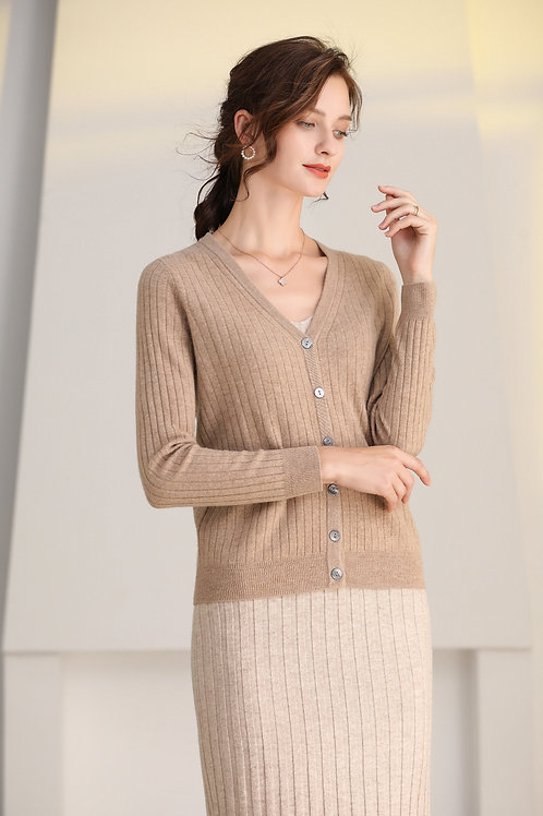 Ecru Emissary | Brown Helena Wool Cardigan