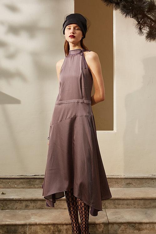 Rimless | Lavender Mock Neckline Asymmetric Hem Dress