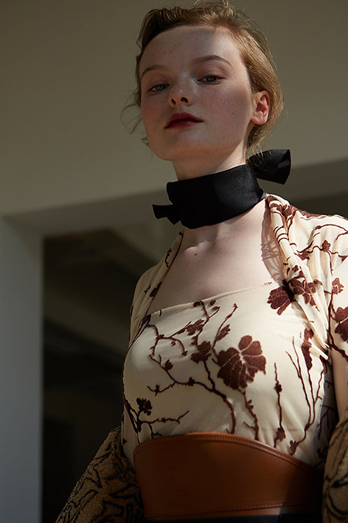 Rimless | Almond Sheer-Chiffon High Neck Elastic Top