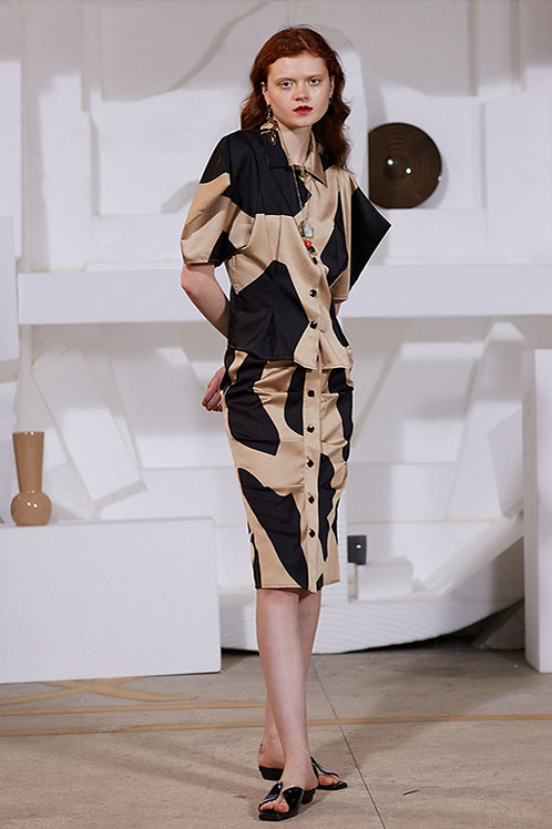 Rimless   Khaki Black Abstract Pleated Skirt