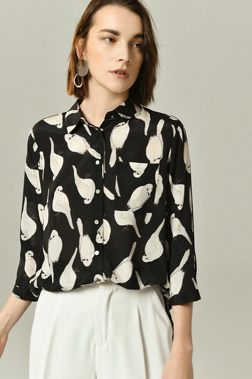 Ecru Emissary | Parrot Print Silk Shirt