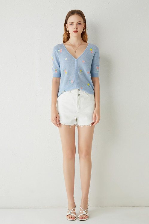 Sylphide   Farideh Embroiderd Wool Knit Top