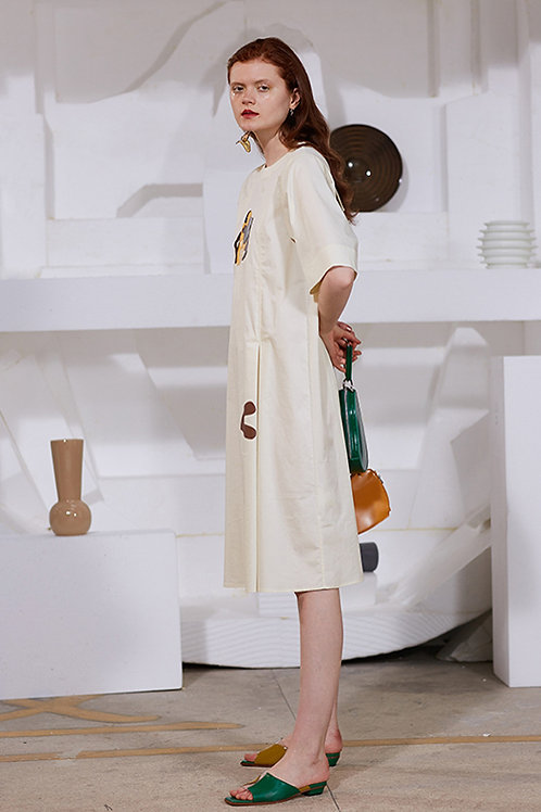 Rimless | White Abstract Patterned Dress