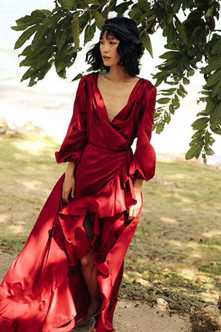 Since Then | Winery Red Enchanting Dress