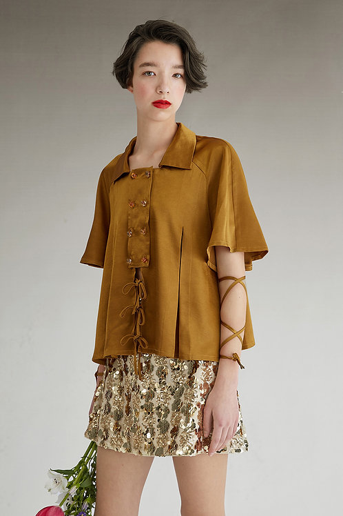 Fussed | Bronze Silky Strappy Button Down Shirt