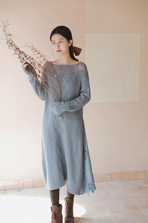 MOLIFUSU | Anne Blue Knit Dress(Petite Size)