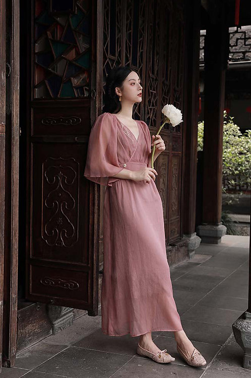 MOLIFUSU | Peach Embroidered Dress