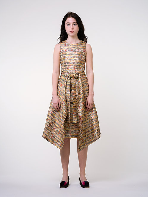 Fussed | Yellow Silky Crossover Tied Belt Dress