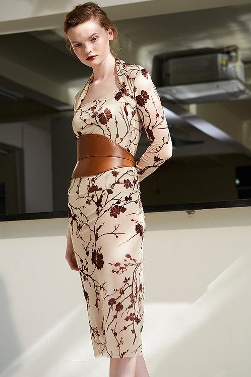 Rimless   Almond Sheer-chiffon Floral Skirt