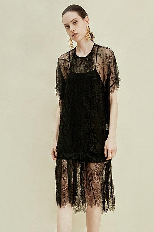 Rimless | Black Floral Lace Slip Dress