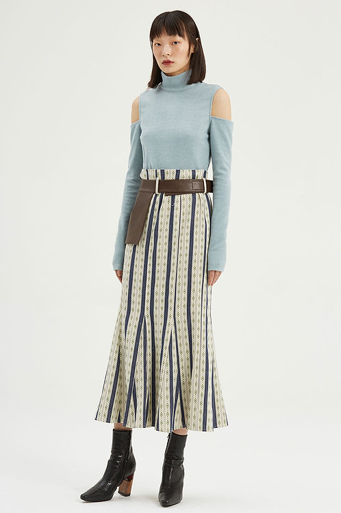 Fussed | Old-fashioned Blue Jacquard Pleated Skirt