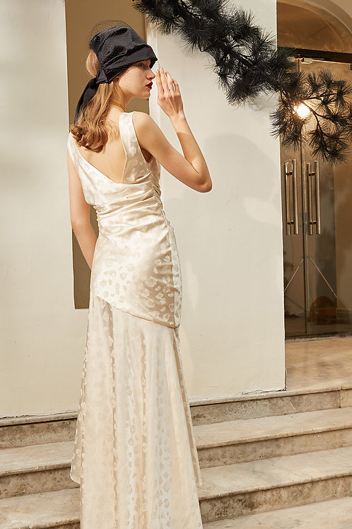 Rimless | Champagne Backless Pleated Maxi Dress