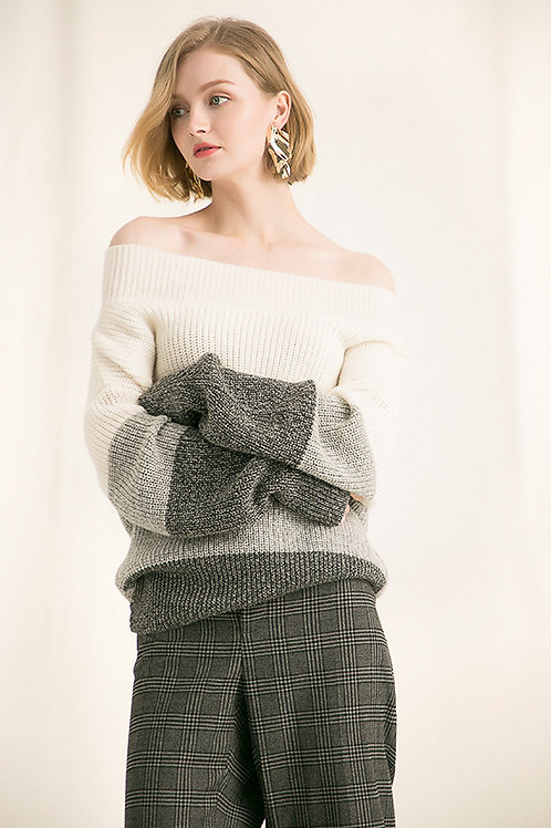 Ecru Emissary | White Off-Shoulder Sweater