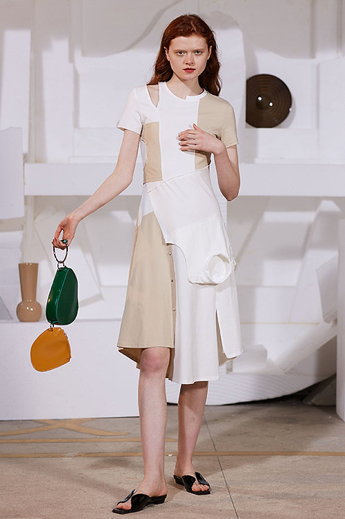 Rimless | Creamy-white Contrasting Patched Dress