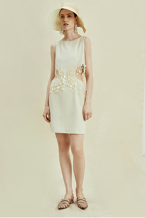 Rimless | Cream Cut-out Dress with Sequin Detail
