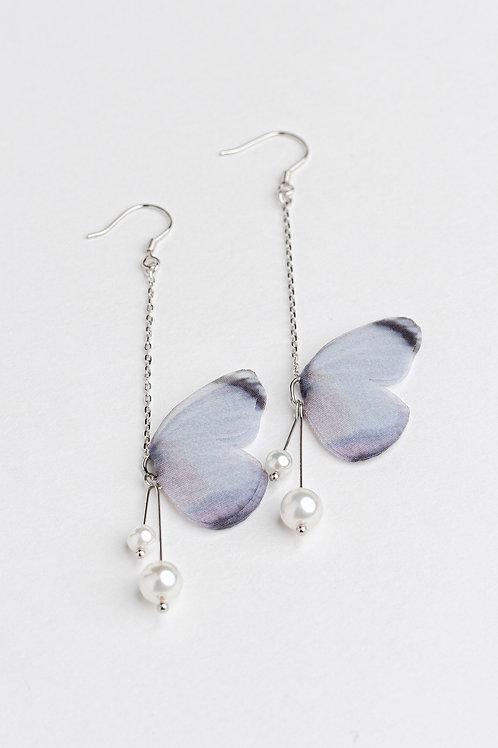Grey Butterfly Earrings