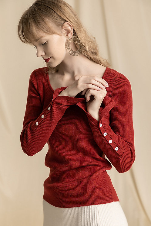 Ecru Emissary | Red Samin Knit