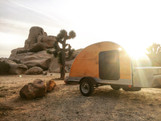 Woody teardrop trailer