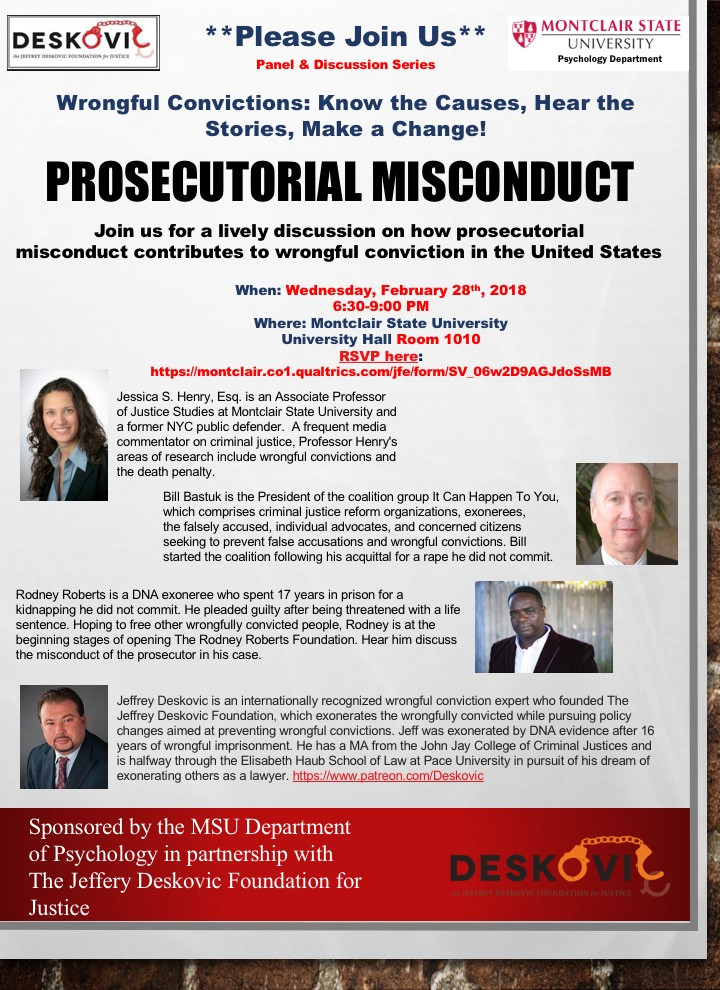 First event will cover prosecutorial misconduct. February 28, 6:30PM