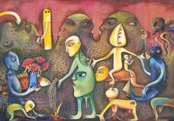 Manuel Mendive , oil on Canvas