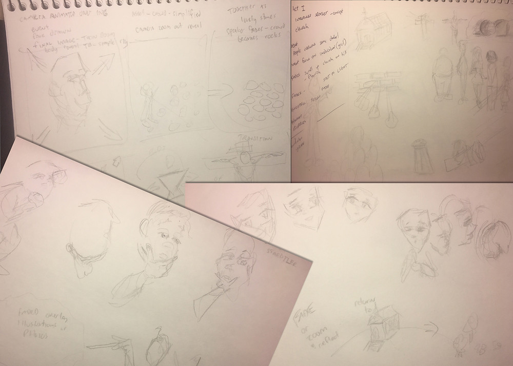 I kept this small just to show a fraction of the raw planning looking into different options before the storyboard.