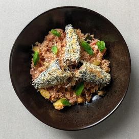 Breaded Sardines with Tomato Rice