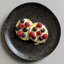 Whey Pancakes with Yogurt, Berries and Honey