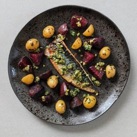Mackerel, Beetroot, New Potatoes with a Green Salsa