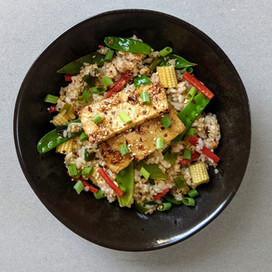 Char Siu Tofu with Vegan Fried Rice