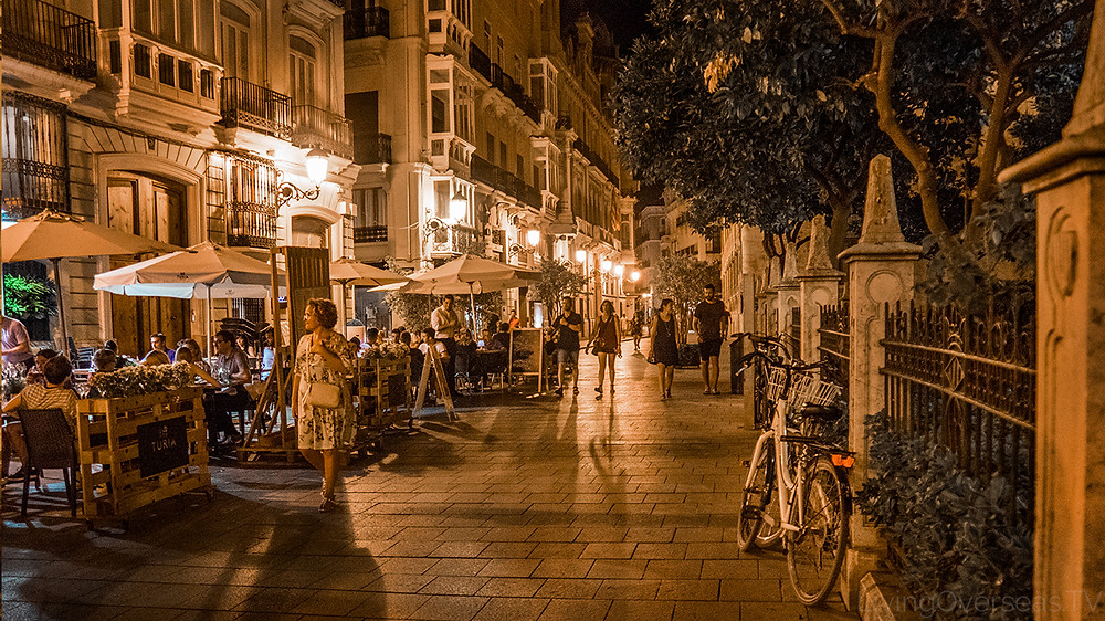 Nightlife in the Old City of Valencia Spain
