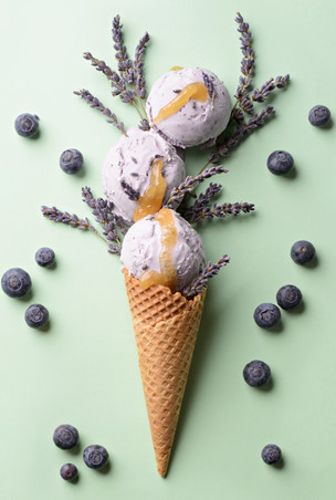 Blueberry Lavender Honey Ice Cream