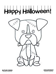 Halloween Franken-doggie Coloring Page.p