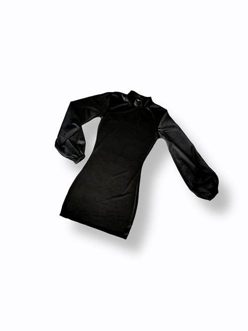 Bodycon manga globo negro